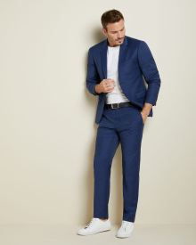 Essential Athletic Fit blue wool-blend suit Pant - Short