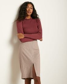 Pink Check High-Waist Pencil Skirt