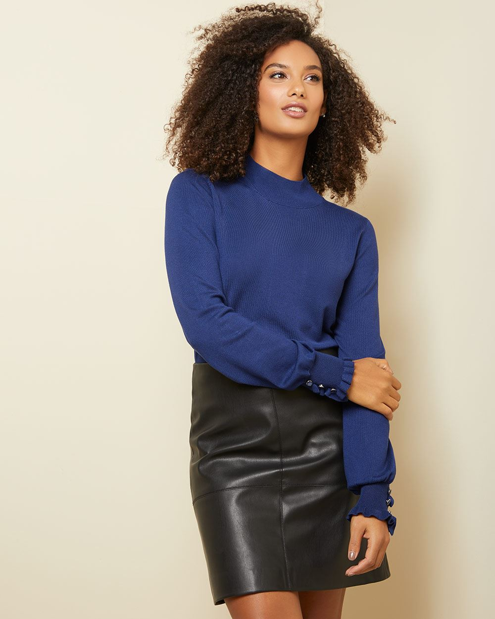 Mock-neck sweater with ruffled cuffs