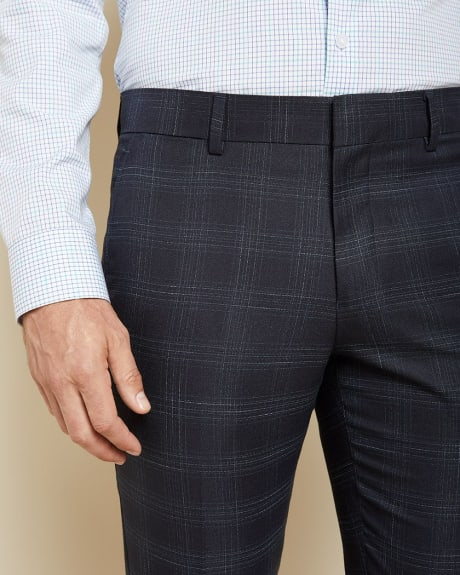 Slim Fit checkered navy blue suit pant