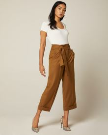 Belted High-waist cropped straight leg pant