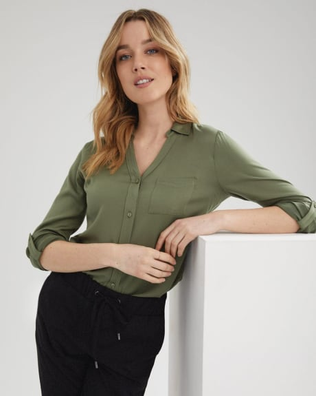 C&G Challis Buttoned-down Blouse with Pocket