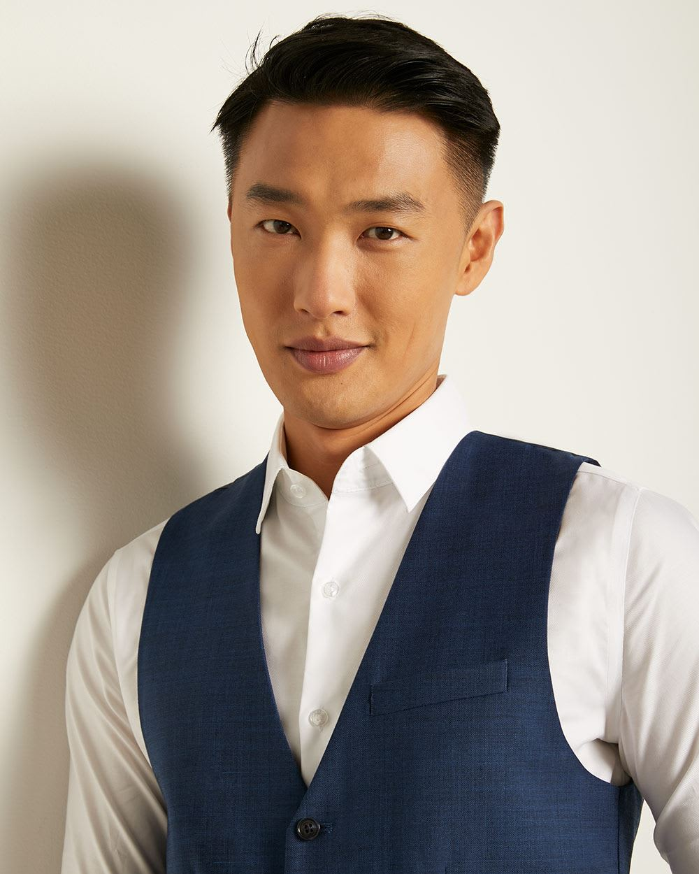 Essential blue wool-blend suit Vest