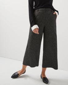 Black tweed wide crop leg pant