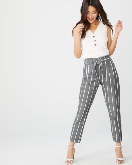 Striped Linen-blend paper bag pant