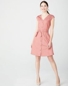 Cotton button-down shirtdress with sash