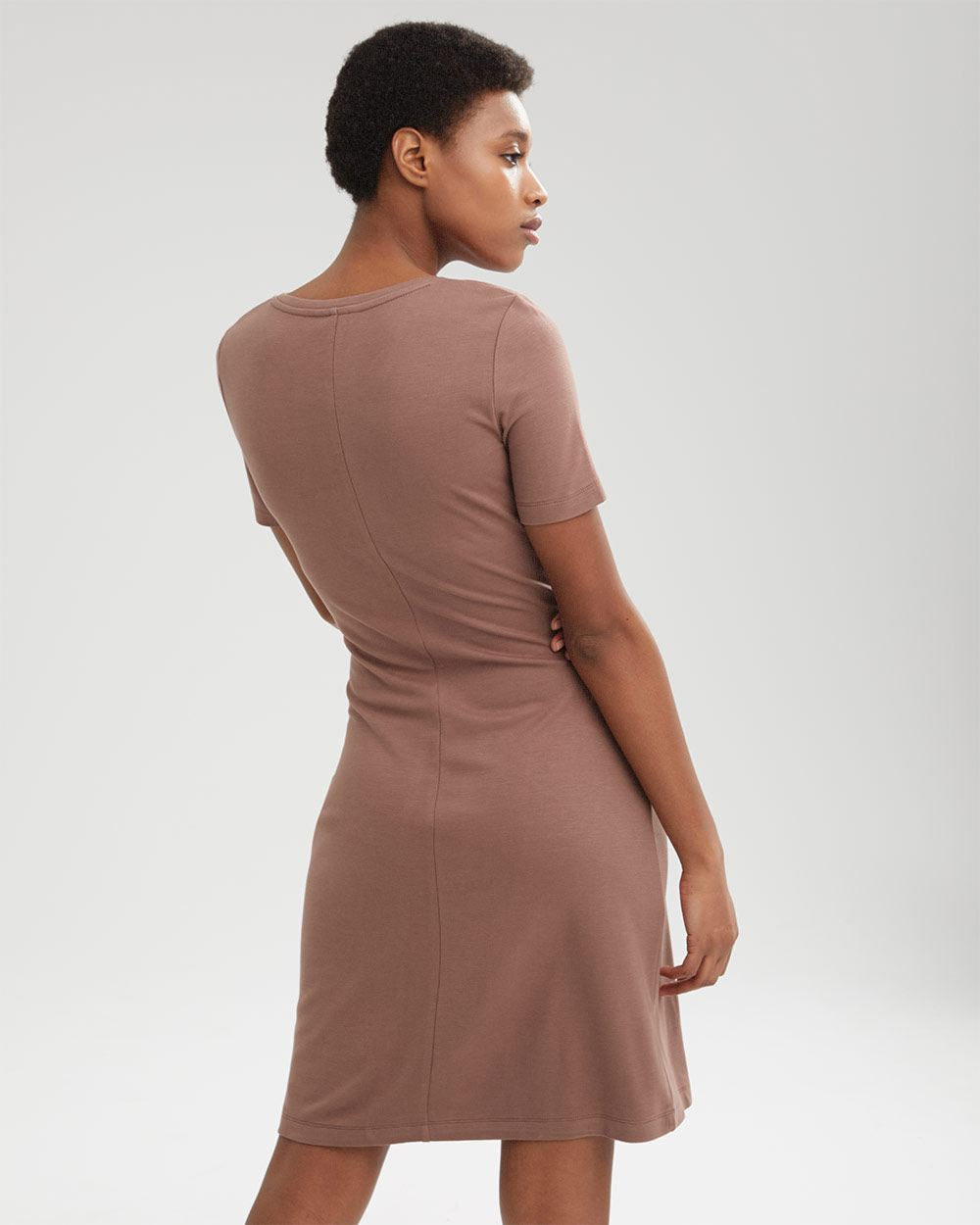 Semi-Fitted Mini Dress with Tied Waist