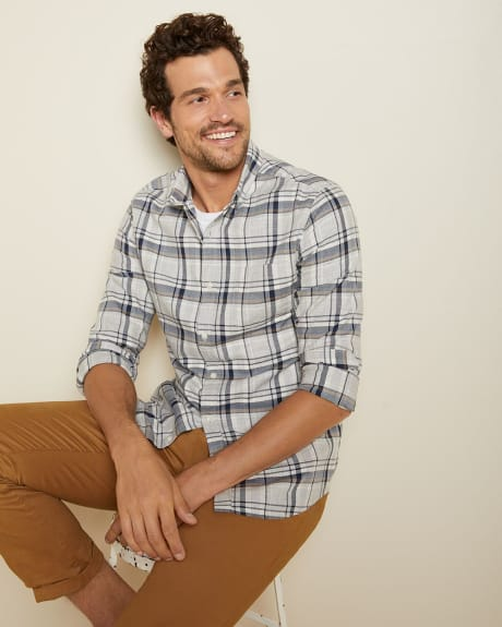 Slim fit heather grey check shirt