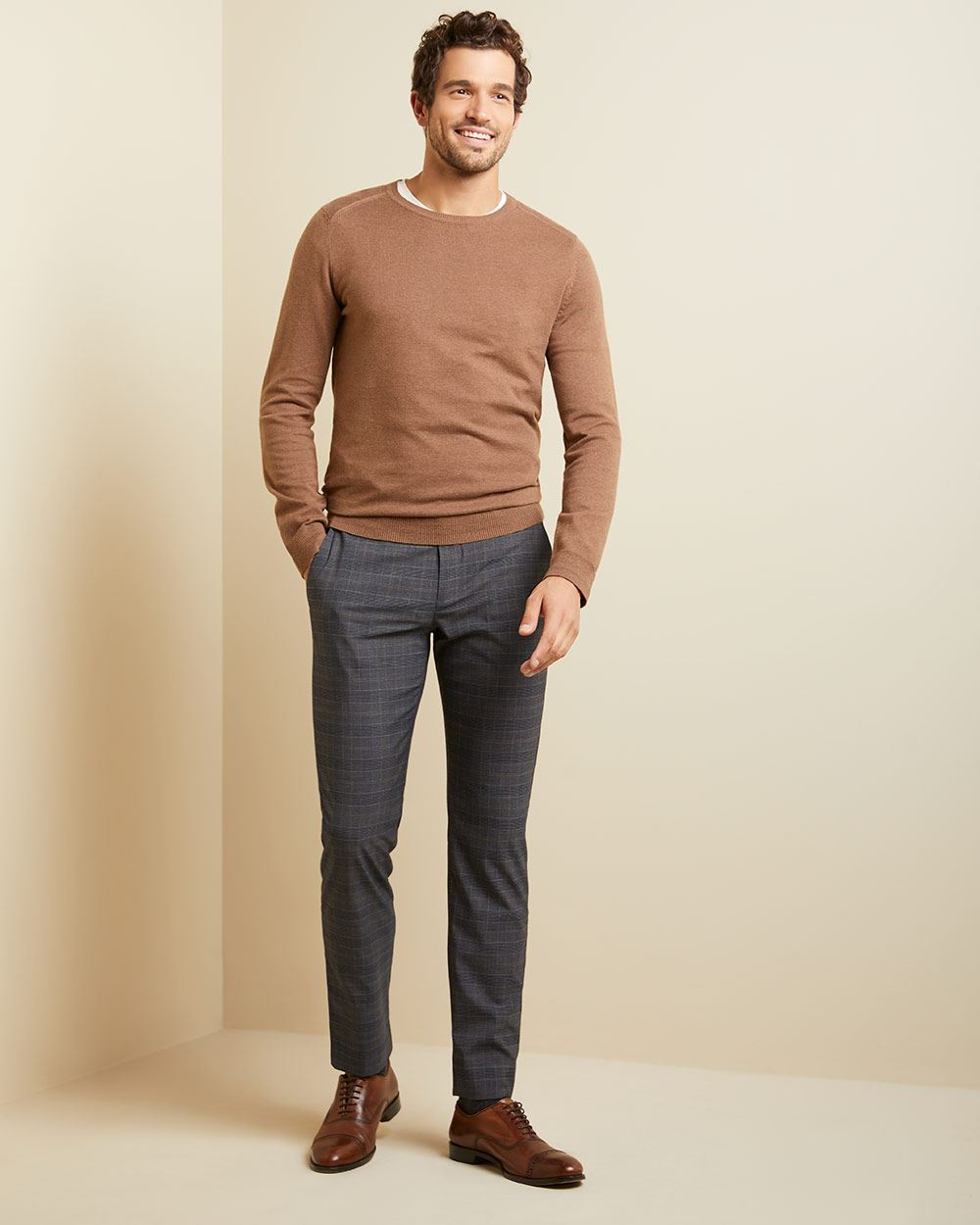 Slim fit camel and grey check city pant