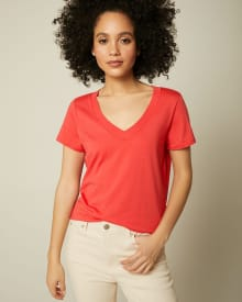 Cotton And Modal V-Neck T-Shirt