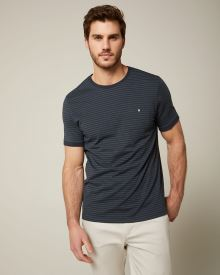 Rib-trimmed short sleeve striped t-shirt with pocket