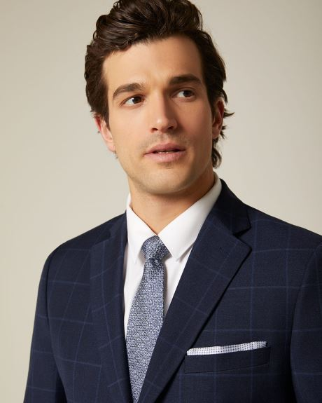 Tailored Fit navy check suit blazer
