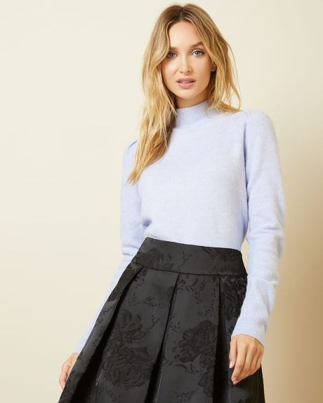 Puffy sleeve mock-neck sweater