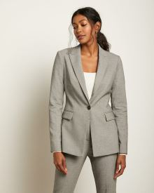 Long Fitted Houndstooth Blazer