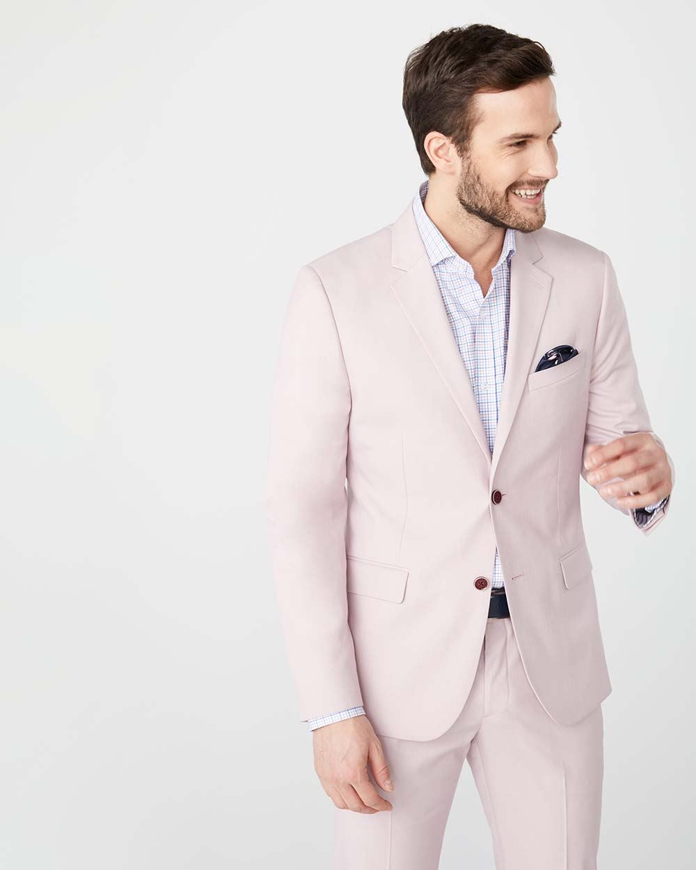 Slim fit light pink suit blazer