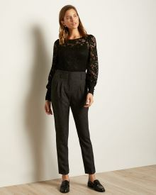 Ultra High-Waist Nepped Tweed Slim Leg Pant