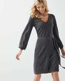 Cashmere-like Faux-wrap sweater dress