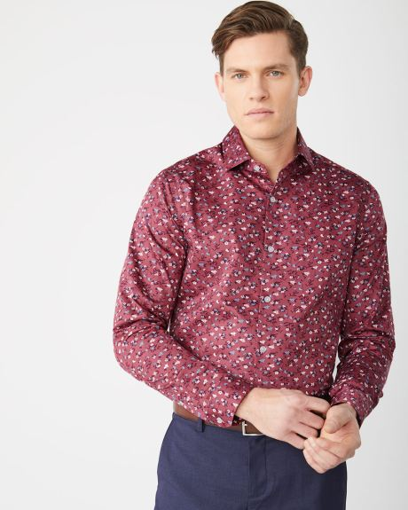 Tailored Fit floral maroon Dress Shirt