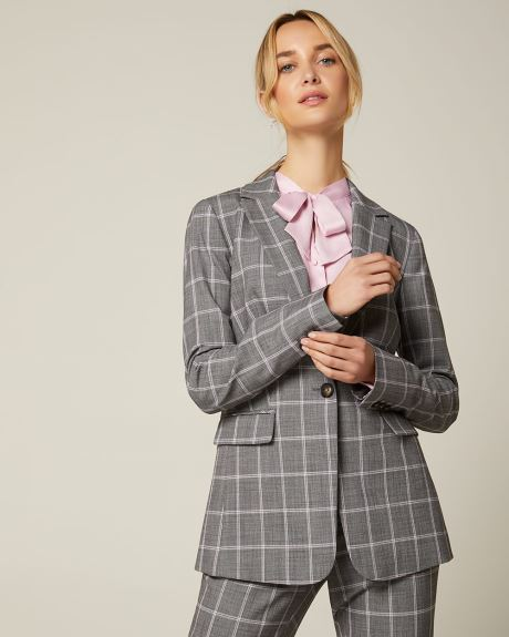 Pastel plaid fitted blazer