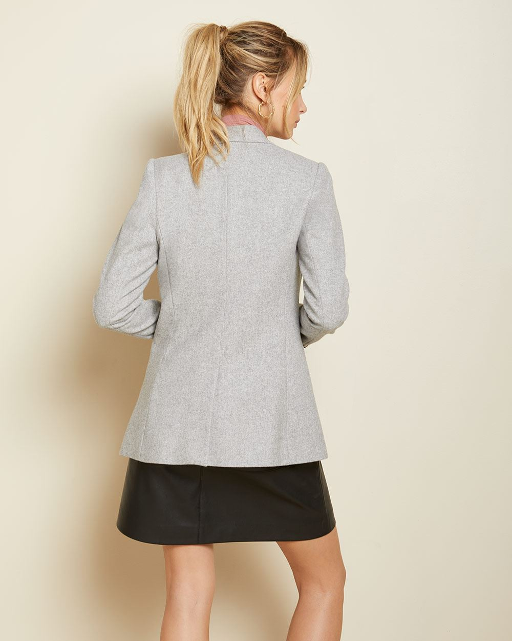 Long Double-breasted wool-blend blazer
