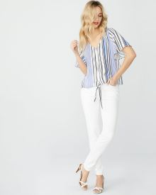 Short sleeve blouse with waist tie
