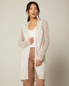 Long Sleeve Mesh Stitch Open Cardigan