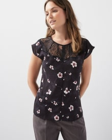 Printed Mixed Media T-shirt with lace