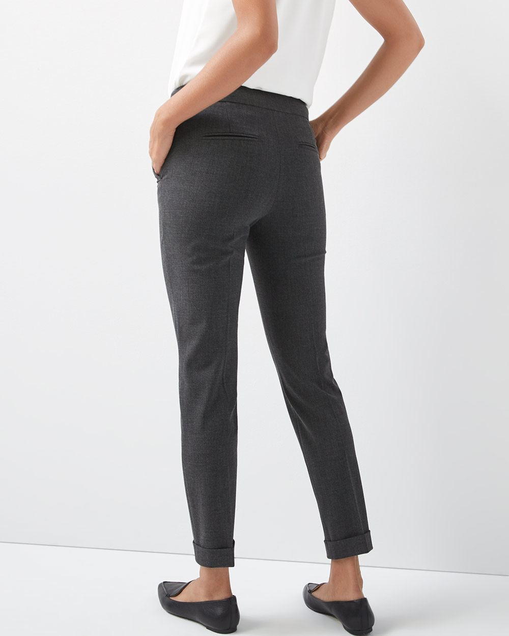 Heather grey Stretch Slim fit Slim leg ankle Pant