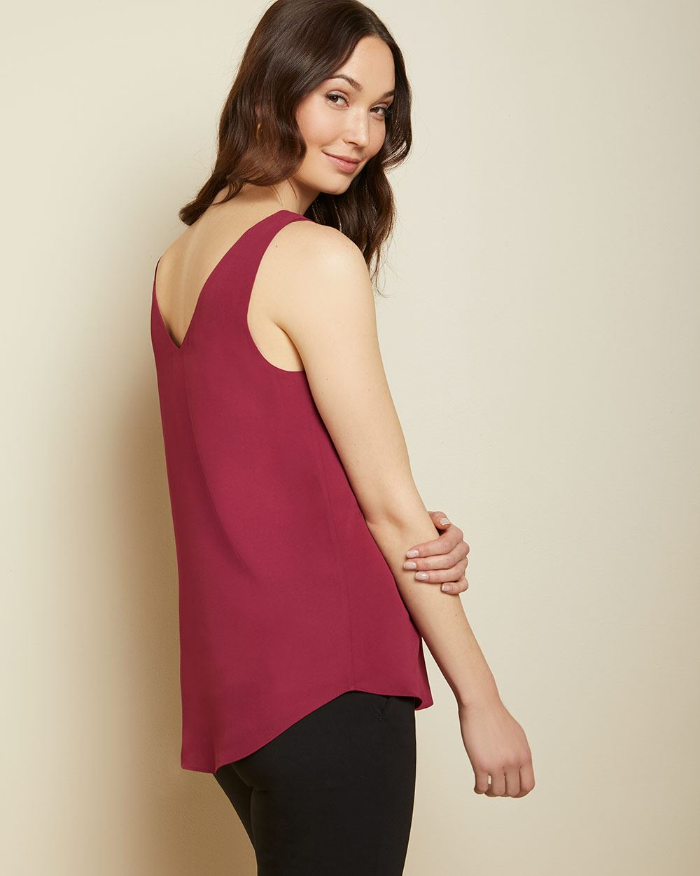 Straight fit solid Silky crepe cami