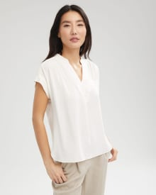Split Neck Popover Blouse with Pleated Shoulders