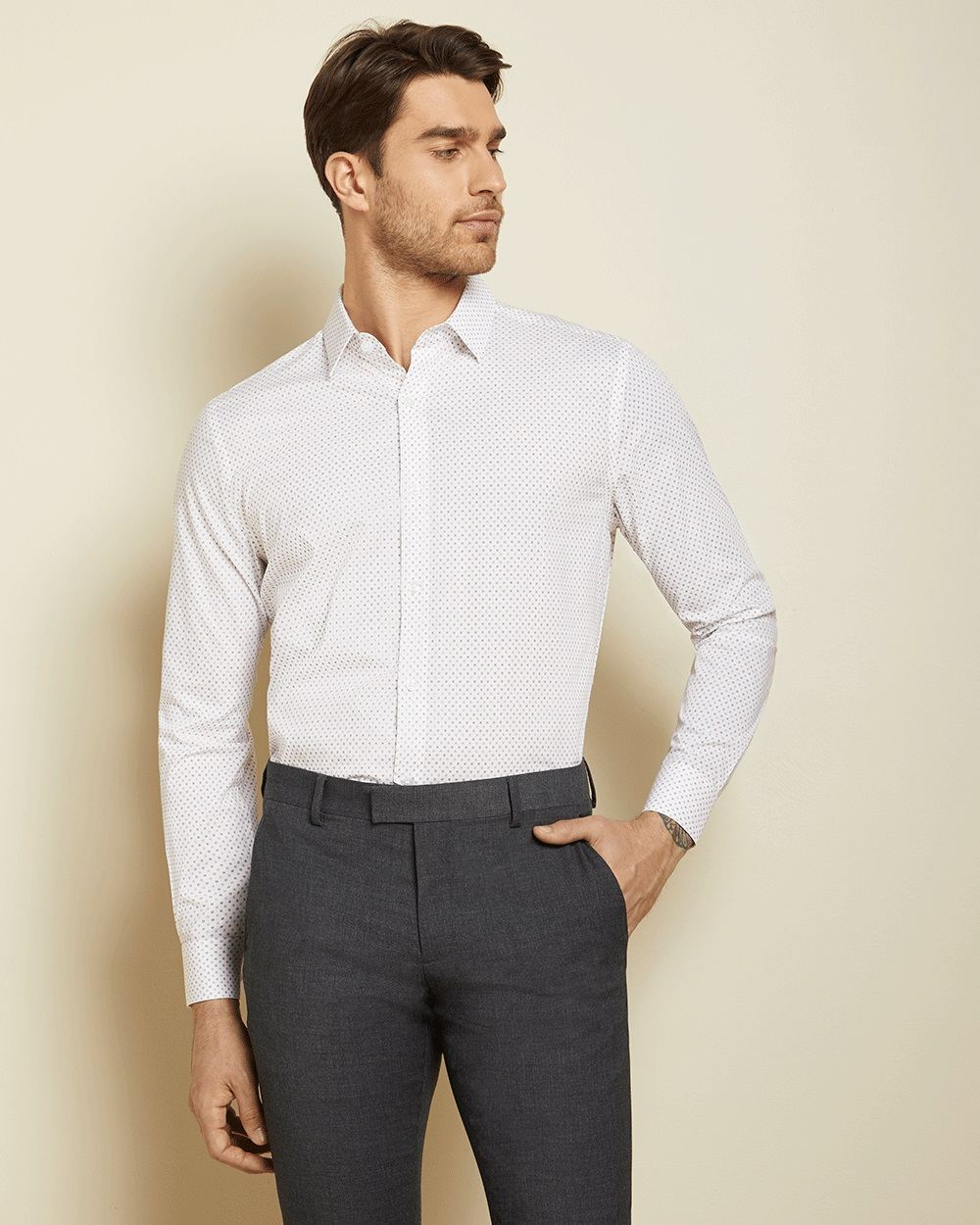 Athletic Fit Geo white Dress Shirt