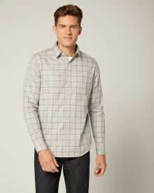 Tailored Fit Grey Windowpane Shirt