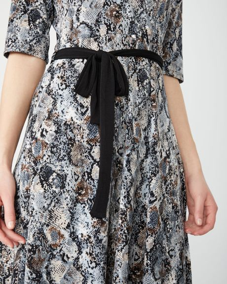 Snakeskin belted fit and flare dress