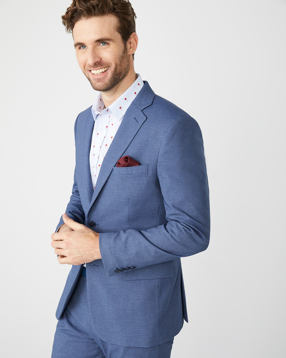 Tailored Fit Crown blue suit blazer with COOLMAX(TM) technology