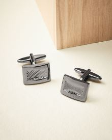 Shiny gunmetal cuff links