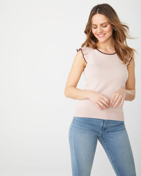 Ruffle-trimmed short sleeve sweater