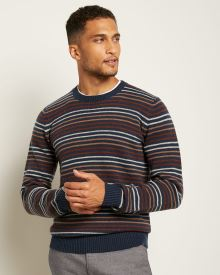 Recycled Yarn Colour-Block Crew-Neck Sweater
