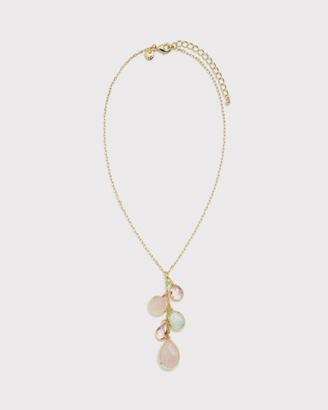 Pastel glass charm Long necklace