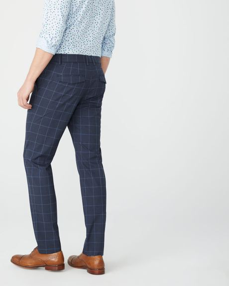 Slim fit navy windowpane City Pant - 30''