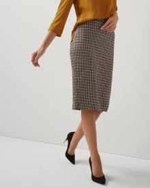 High-waist Houndstooth Everyday stretch Pencil Skirt