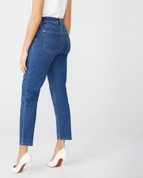 High-rise Girlfriend jeans in Dark blue wash