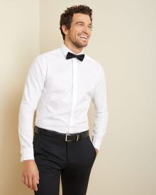 Slim fit dress shirt with hidden placket and french cuff