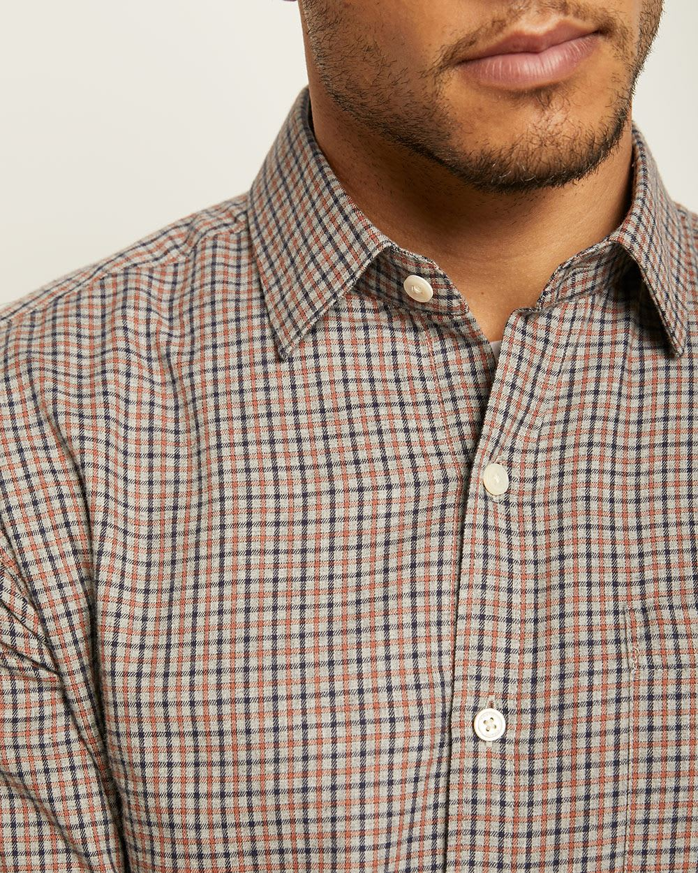 Tailored Fit Flannel Plaid Shirt
