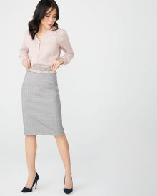 High-waist three-tone plaid pencil skirt