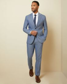 Tailored fit two-tone chambray suit pant