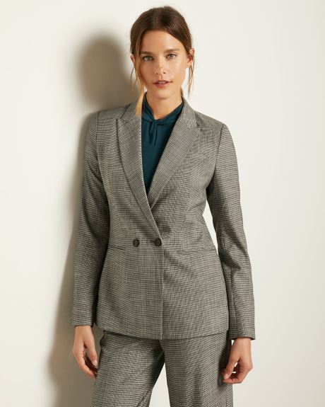 Hounstooth Flannel Fitted Double-Breasted Blazer