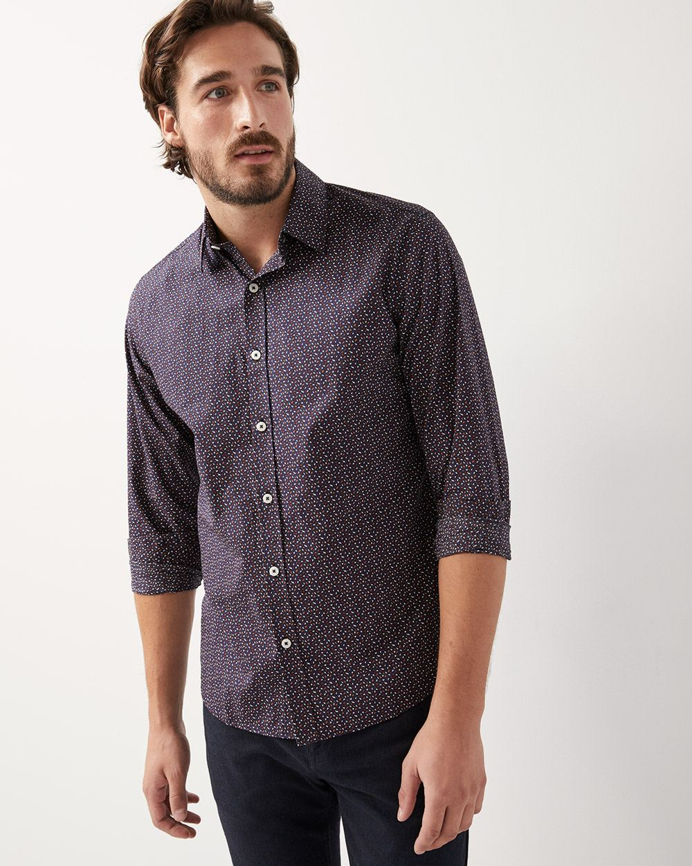 Tailored fit coloured dot print shirt