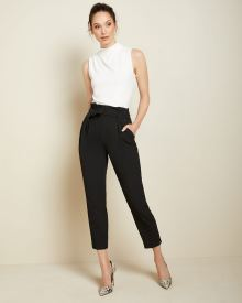 High-waist Black stretch paper bag pant