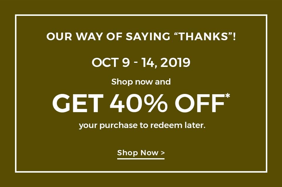 receive a 40% off savings pass