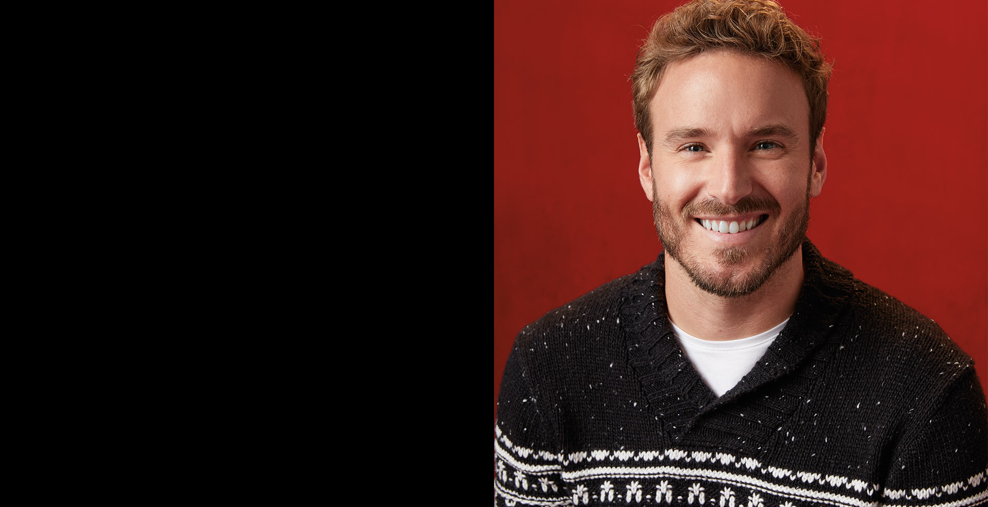Men smiling wearing a knitted sweater from RW & Co